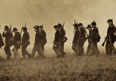Black hats on the march - Piper House_MG_7788 sepia